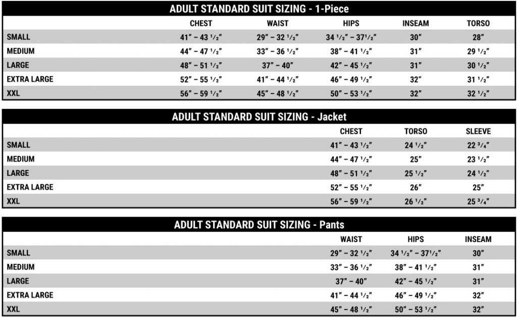 Adult Suit Sizing Chart